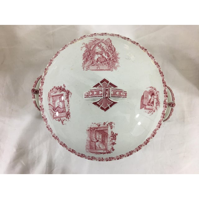 Ceramic Red and White Digoin & Sarreguemines Faience Dinner Set - Set of 26 For Sale - Image 7 of 13