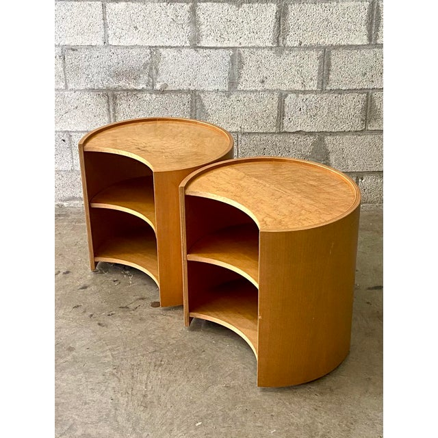 Mid-Century Modern Vintage Mid-Century Modern Michael Taylor for Baker Curved Nightstands - a Pair For Sale - Image 3 of 9