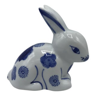 Blue and White Rabbit Sculpture With Floral Motif For Sale