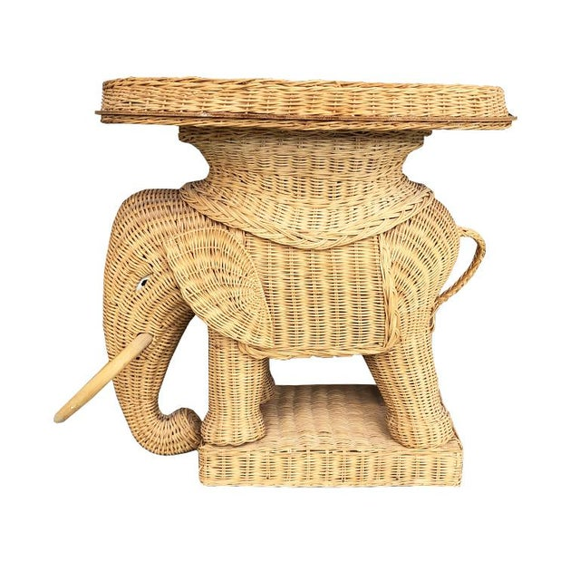 1960s Figurative Animalia Wicker Elephant Side Table in the Style of Mario Lopez Torres For Sale - Image 6 of 6