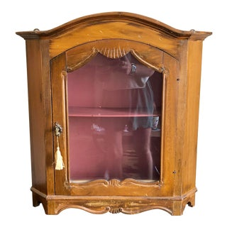 Vintage Florentine Italy Carved Wood Wall Cabinet For Sale