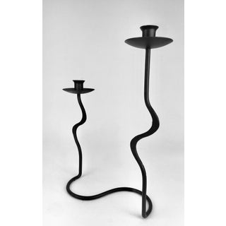 Vintage Wrought Iron Brutalist Modern Double Candle Holder Preview