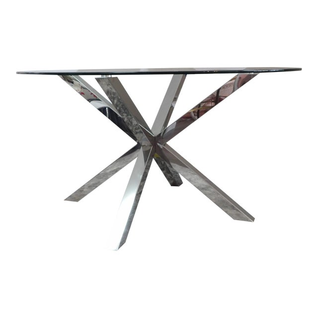 Modern Polished Chrome Based Glass Topped Dining Table For Sale
