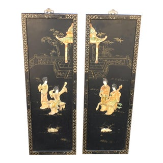 Chinese Ladies Musicians Lacquer Panels- a Pair For Sale