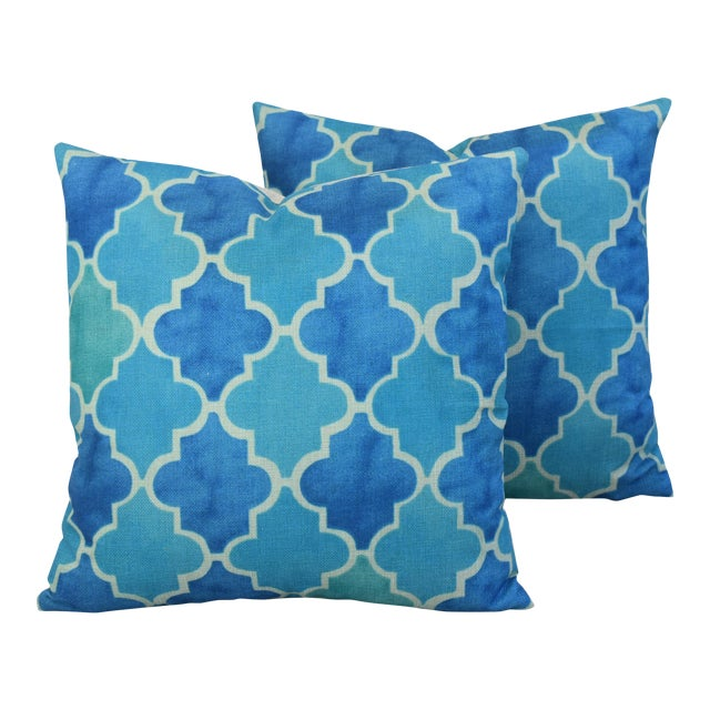 BoHo Chic Moroccan Tiles Linen Feather/Down Pillows - Pair - Image 1 of 11