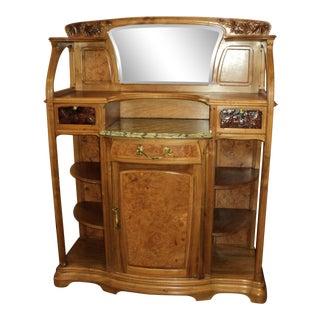 1910s Antique French Art Nouveau Walnut Server For Sale