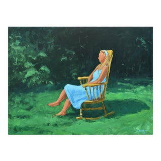Painting of a Woman Sitting in a Rocking Chair Outside For Sale