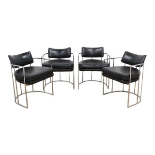Black and Chrome Milo Baughman Barrel Dining Chairs - Set of 4 For Sale