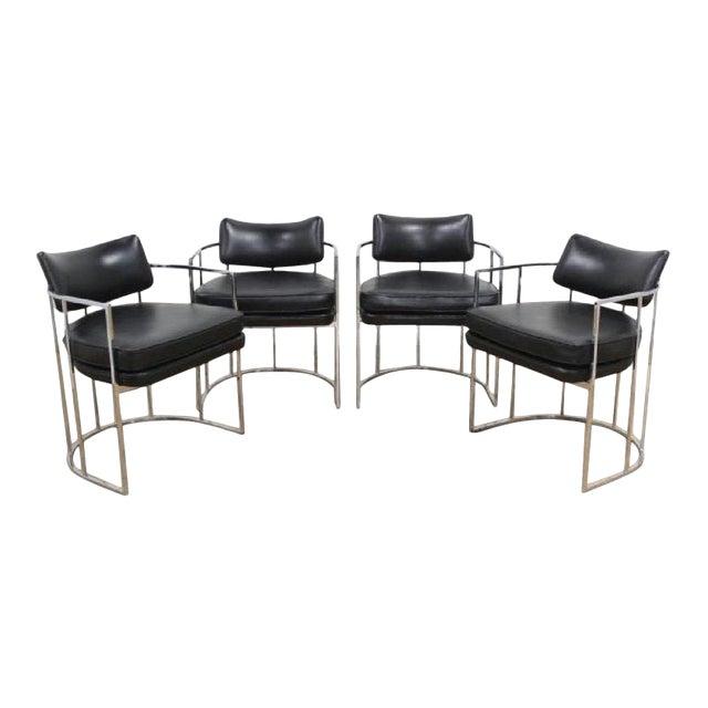 Black And Chrome Milo Baughman Barrel Dining Chairs Set Of 4 Chairish