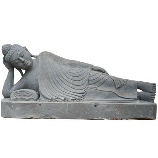 20th Century Lava Stone Reclining Buddha Garden Statue For Sale