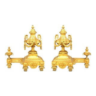 Louis XBI Bronze Dore Urn Andirons - a Pair For Sale