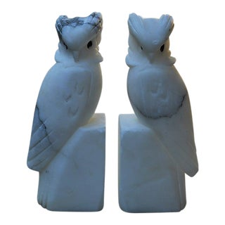 Marble Parrot Bookends - a Pair For Sale