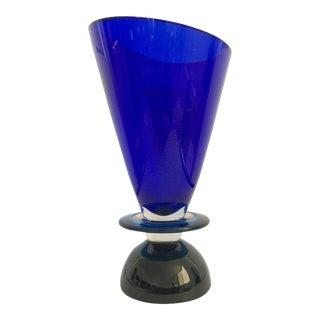 1990s Geometric Blue Murano Glass Vase For Sale