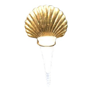Brass Shell/Satin Glass Wall Planter Vase For Sale