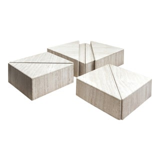 A Large Set of Eight Travertine Elements Forming One or More Coffee Tables