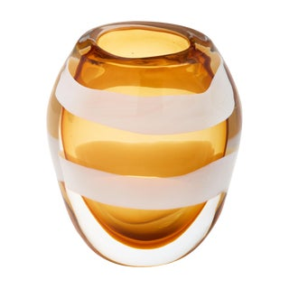 Murano Glass Amber Vase by Pino Signoretto For Sale