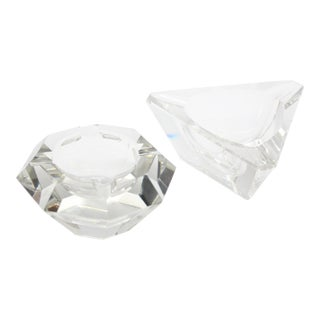 Geometric Lead Crystal Ashtrays - A Pair For Sale