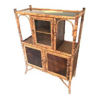 19th Century Victorian Burnt Bamboo Display Cabinet For Sale