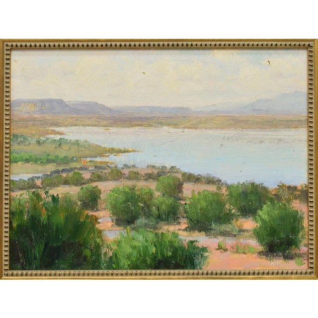 American Framed New Mexico Landscape Desert and River Oil Painting by Don Ward For Sale - Image 3 of 7