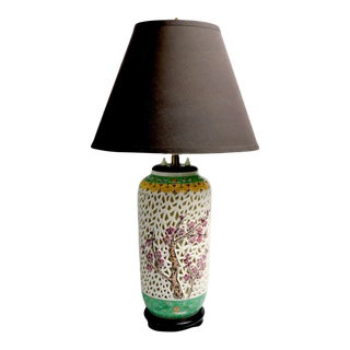 Reticulated Blanc De Chine and Polychrome Porcelain Table Lamp. For Sale