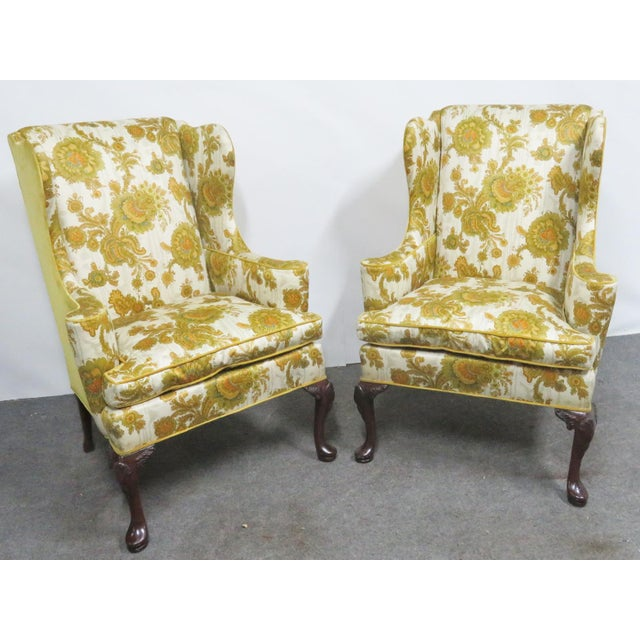 Yellow Hickory Chair Co. Queen Anne Style Wing Chairs- a Pair For Sale - Image 8 of 9