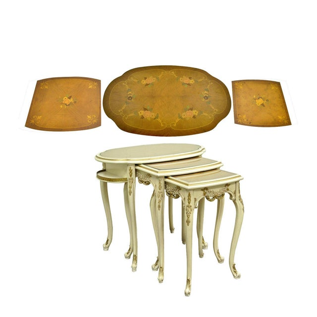 Item: Set of 3 Vintage French Louis XV Style Carved, Painted, & Satinwood Inlaid Nesting Side Tables Details: Beautifully...