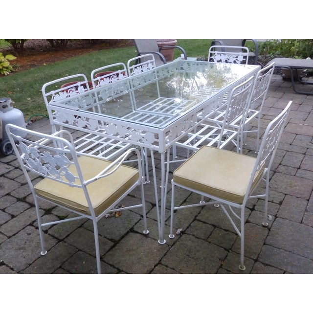 1950s 1950s Mid Century Modern Salterini Grapeleaf Wrought Iron Dining Set - 9 Pieces For Sale - Image 5 of 5
