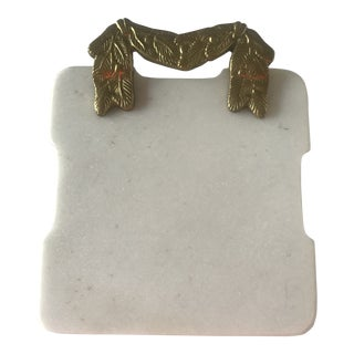 Small Vintage Holiday Marble Cheese Board With Brass Handle For Sale
