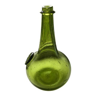 Mid-Century Glass Green & Gold Hand-Blown Wine Carafe / Vase For Sale