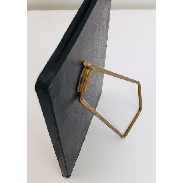 Vintage Desk Set, Black Leather and Brass Letter Rack, Picture Frame and Notepad For Sale - Image 11 of 13