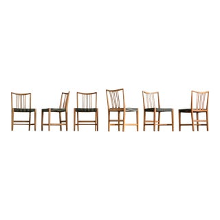 Set of Six Dining Chairs by Hans Wegner for Mikael Laursen For Sale