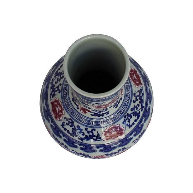 Chinese Blue, White, & Pink Floral Vase - Image 4 of 5