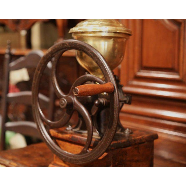 Large 19th Century French Walnut Iron and Brass Coffee Grinder For Sale - Image 10 of 11