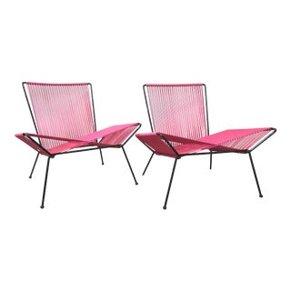 Mid Century Modern Outdoor Patio Iron & Cord Lounge Chairs For Sale