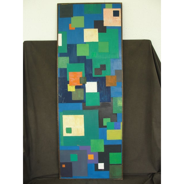 Geometric Abstract Oil on Masonite - Image 2 of 6