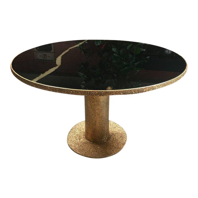 Round Brass and Glass Dining Table, Italy For Sale