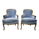 Image of Vintage French Louis XV Provincial Blue Bergere Lounge Arm Chairs - a Pair For Sale