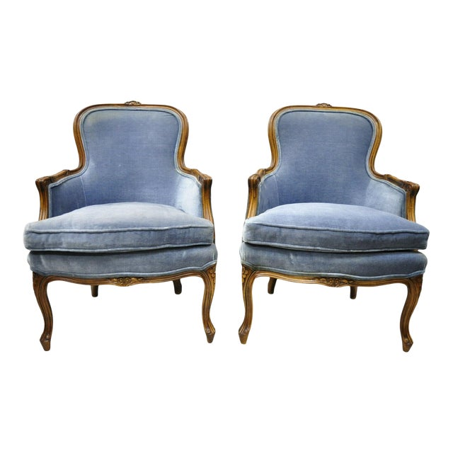 Vintage French Louis XV Provincial Blue Bergere Lounge Arm Chairs - a Pair For Sale