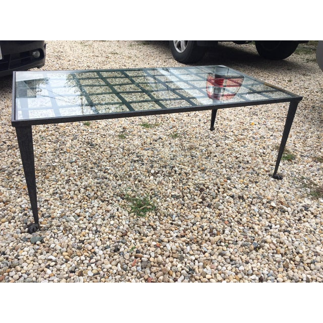 1990's Vintage Custom La Forge Francaise Forged Iron & Glass Coffee Table For Sale - Image 10 of 10