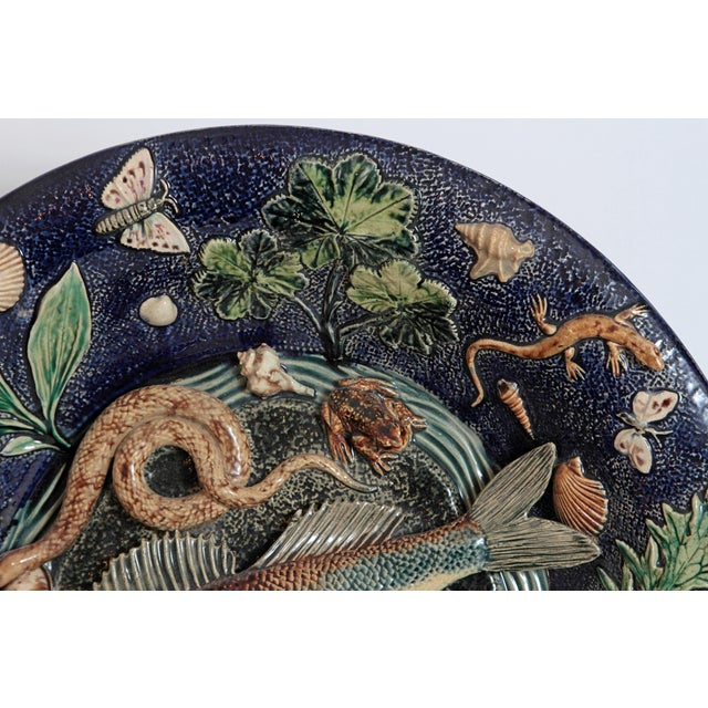 Large Palissy Charger by Victor Barbizet, Circa 1875 For Sale In Dallas - Image 6 of 11