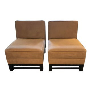 Slipper Chairs With Carved Mahogany Base- A Pair For Sale
