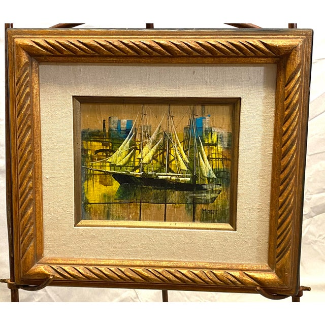 Vintage Oil on Canvas Signed Moss Nautical Sailboats Framed For Sale - Image 10 of 10