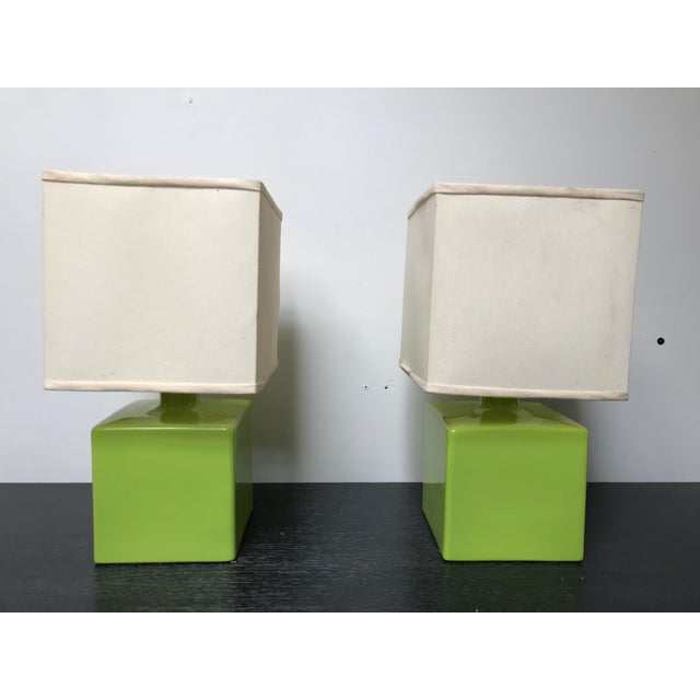Mid Century Chartreuse Green Glaze Ceramic Table Lamps - a Pair For Sale - Image 13 of 13