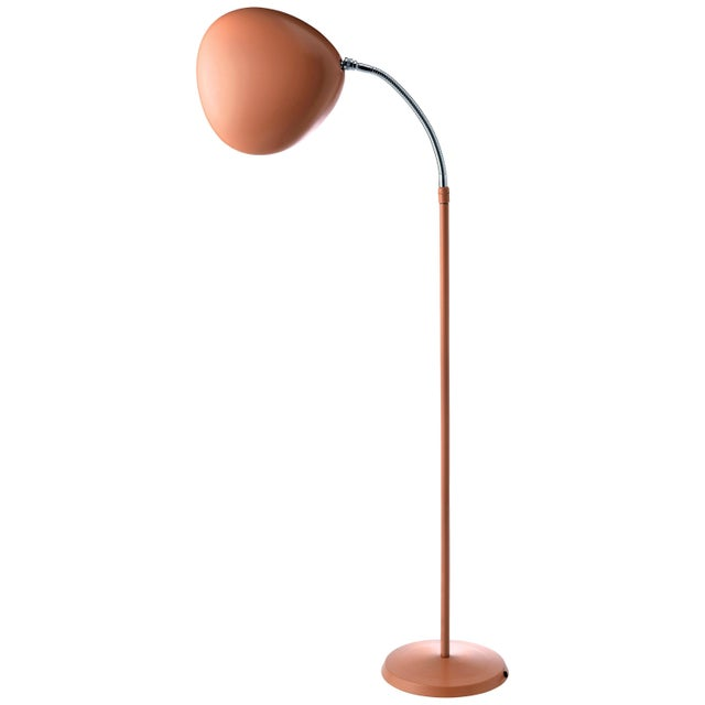 Mid-Century Modern Greta Magnusson Grossman 'Cobra' Floor Lamp in Red For Sale - Image 3 of 3