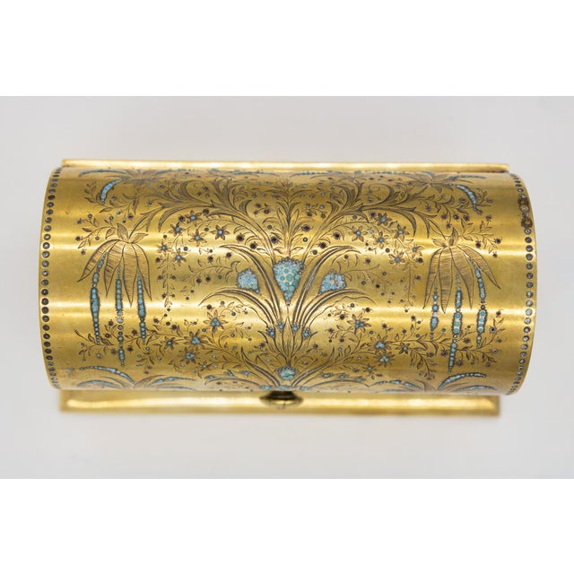 French Rare Solid Brass Stationery Box Inlaid With Turquoise and Garnets, France, Circa 1860. For Sale - Image 3 of 11