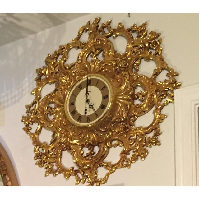 Mid-Century Modern Syroco Gilt Wall Clock - Image 6 of 7