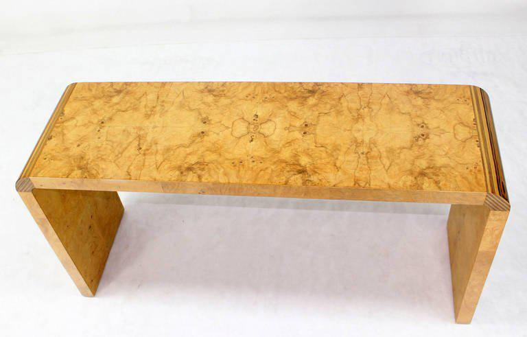 Burl Wood Mid Century Modern Console Table By Henredon   Image 5 Of 10