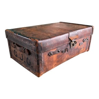 Antique Leather Travel Trunk Suitcase For Sale