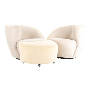 Vladimir Kagan for Directional Mid Century Nautilus White Suede Leather Lounge Chair - Pair For Sale