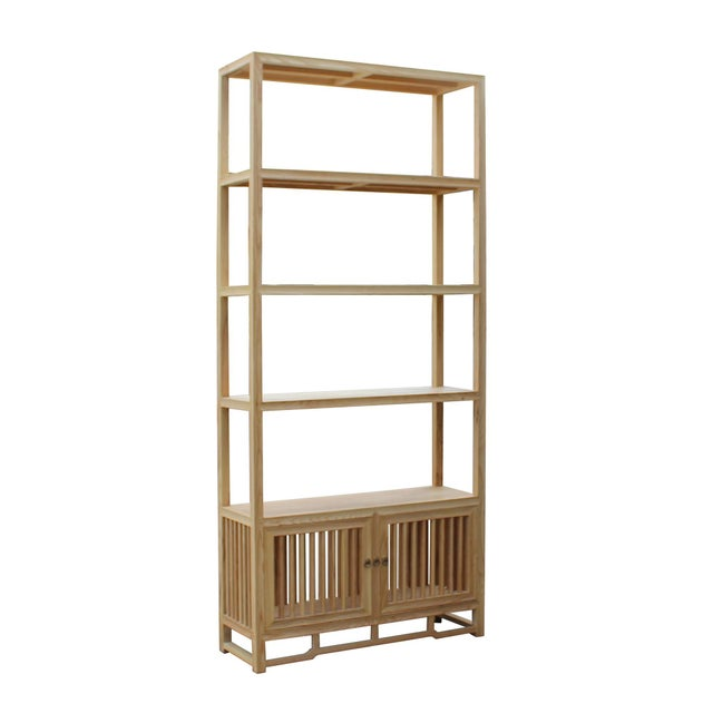 Asian Light Natural Raw Wood Shutter Doors Minimalist Bookcase Display Cabinet For Sale - Image 3 of 8